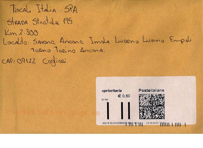 Lo spelling di Tiscali, in Italia