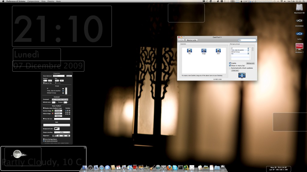 Working in progress con GeekTool 3 - Clicca per ingrandire -