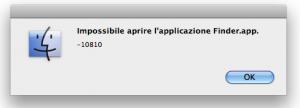 Impossibile aprire l'applicazione Finder.app -10810