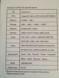 Caratteristiche tecniche miniPC Android 4.0
