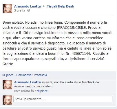 Assistenza clienti Tiscali su Facebook