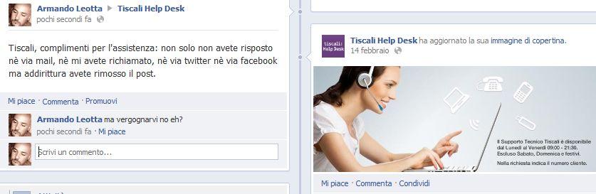 assistenza Tiscali su Facebook